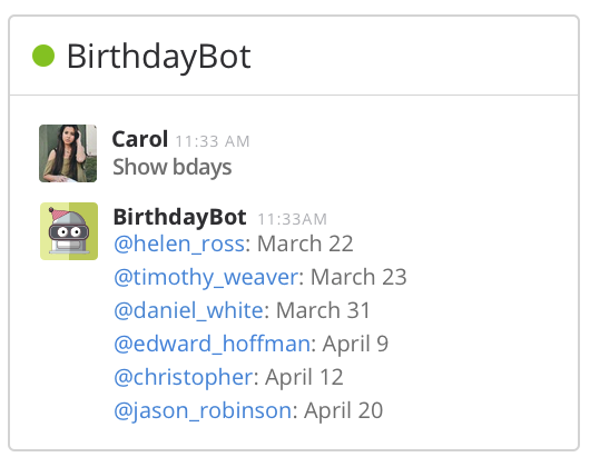 BirthdayBot for Slack - Never miss your teammates' birthdays